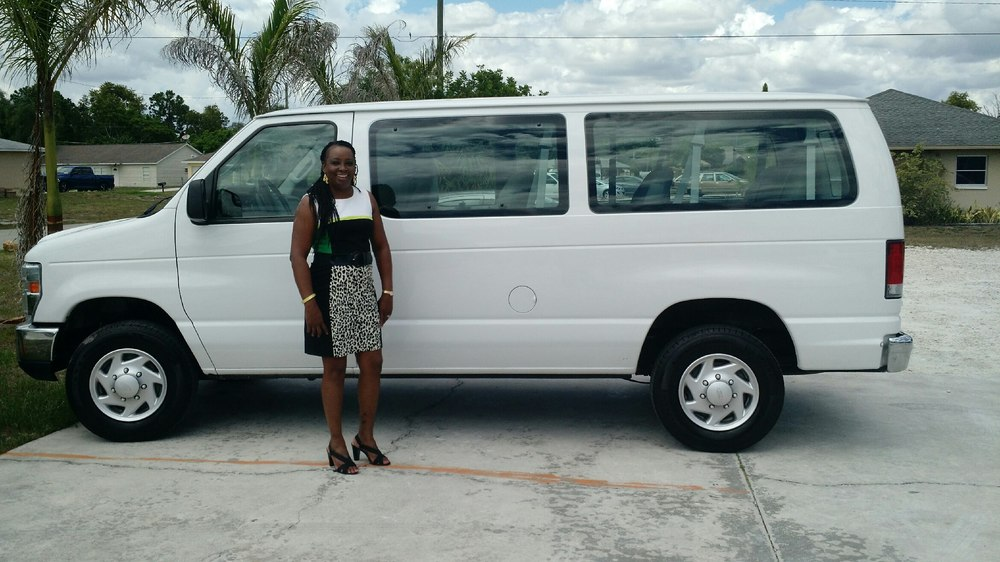Karen Watson, Executive Director, Our Mother's Home with multi-passenger van.