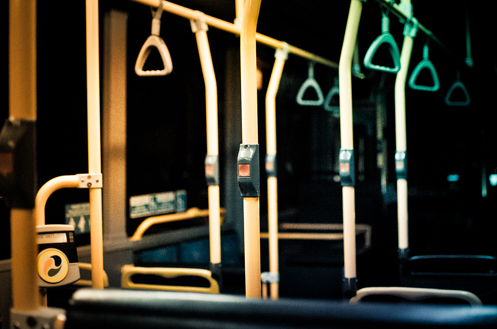 9:45pm. An empty bus & me.