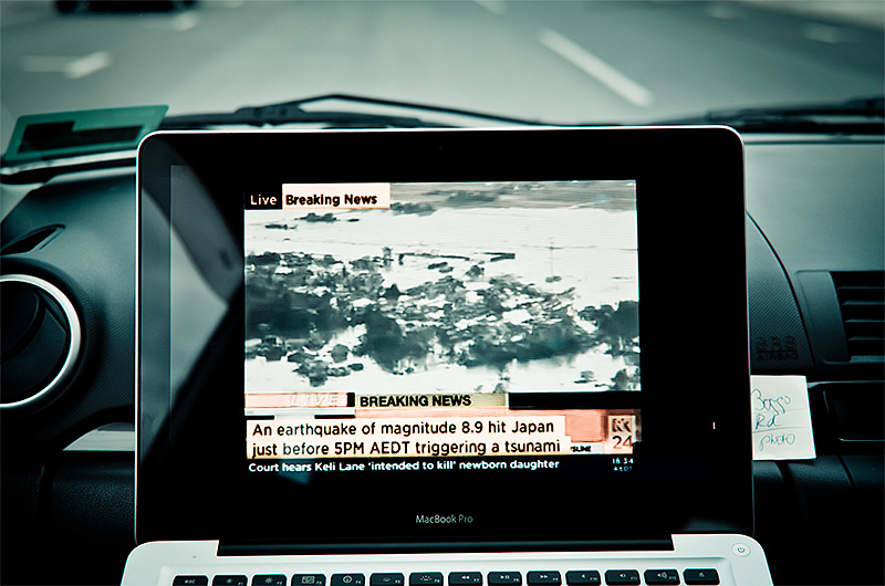 Racing home, using my iPhone to stream news of the Japan Tsunami to the Mac