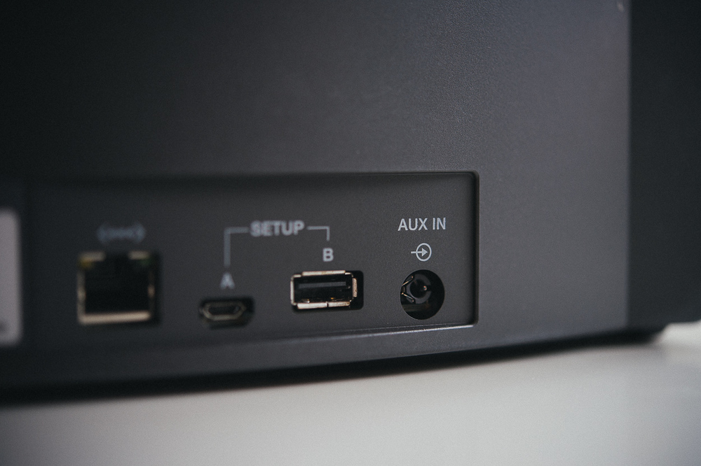 AUX input, an Ethernet jack, and two separate USB connectors (for setup only) sit against the back right