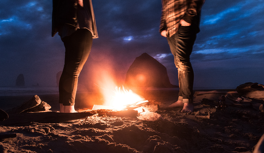 At dusk we made a fire, said a few words and buried some of Dad's grave stones on Cannon Beach, in view of Haystack Rock, a place he'd hoped to come last year. Then we made S'mores.