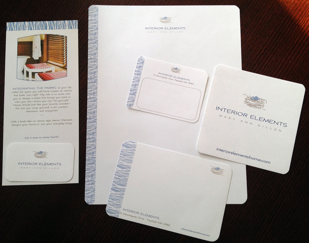 Interior Elements:    Collateral material design, including letterhead, correspondence cards, mailing label, and large label for packaging.