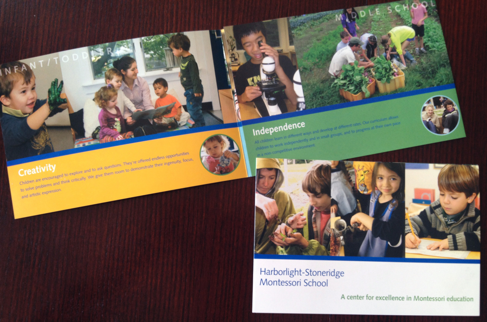 Harborlight-Stoneridge Montessori School:     Tri-fold Admissions brochure design.