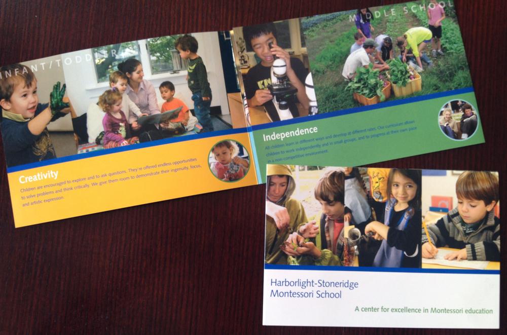 Harborlight-Stoneridge Montessori School:    Tri-fold Admissions brochure design.