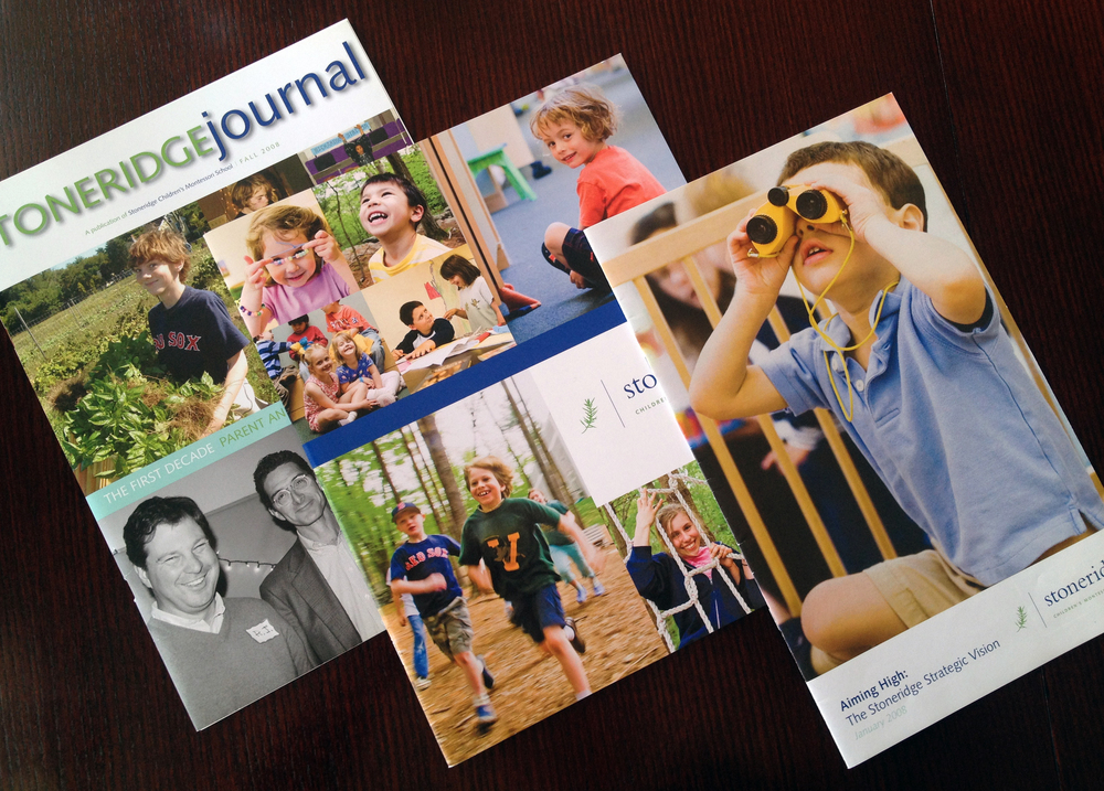 Stoneridge Children's Montessori School:     Design of alumni magazine, admissions viewbook, and capital campaign prospectus for private Montessori K-8 school.