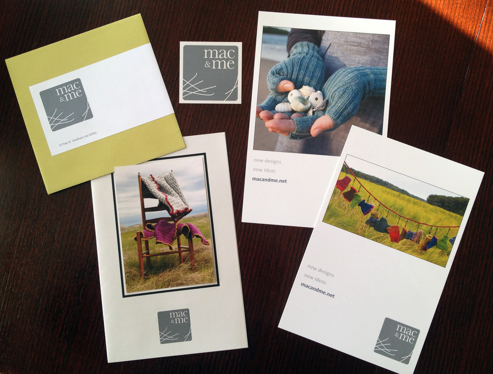 Mac & Me:     Pattern template, postcard mailer, sticker, point of purchase stand-up, label, and mailing envelope for textile design company.