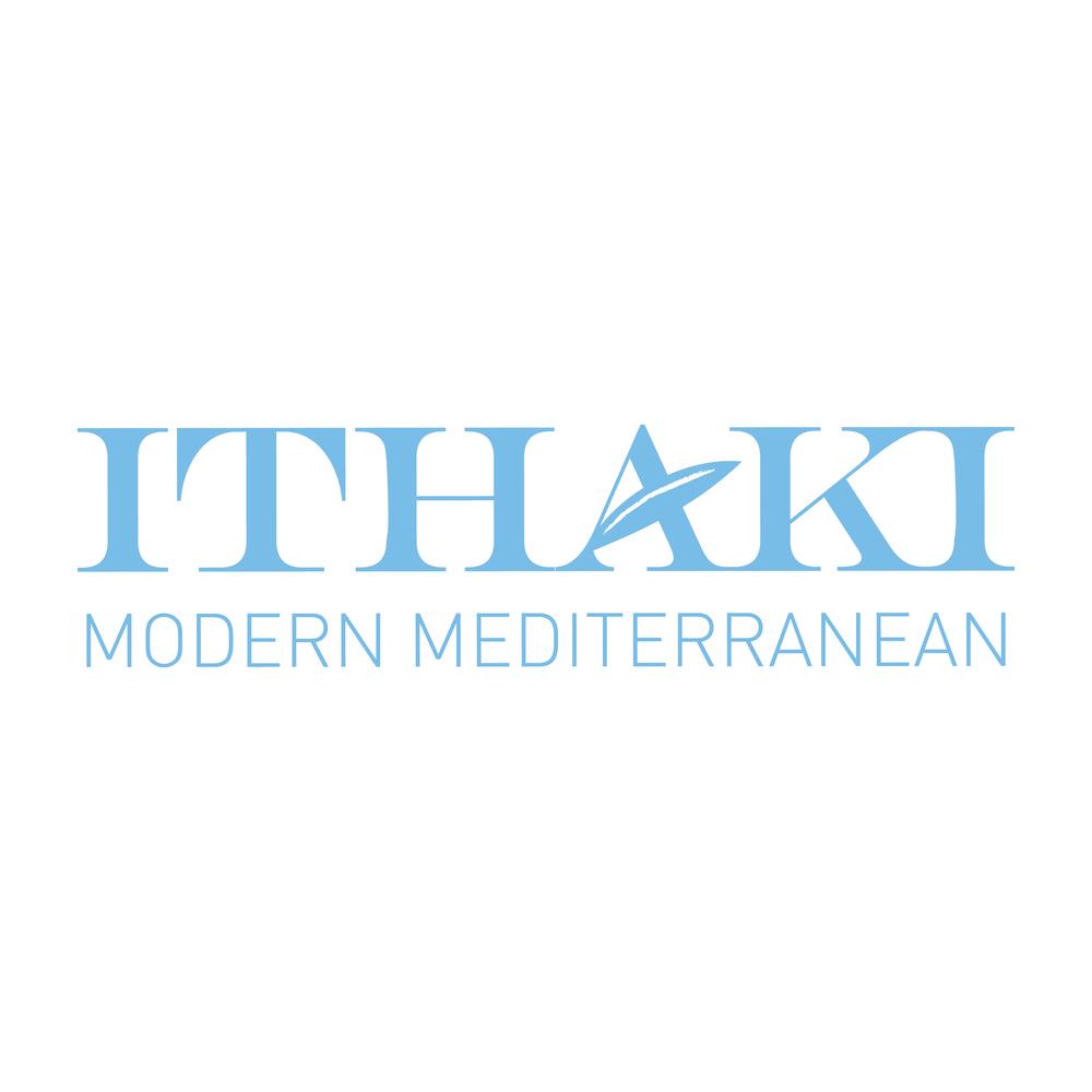 Ithaki:    Logo design for upscale Mediterranean restaurant.
