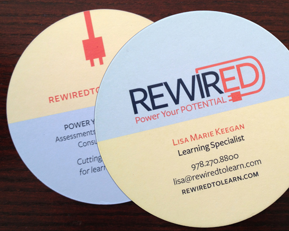 RewirED:     Logo and business card for alternative educational counseling and neuro-pathway training entity.