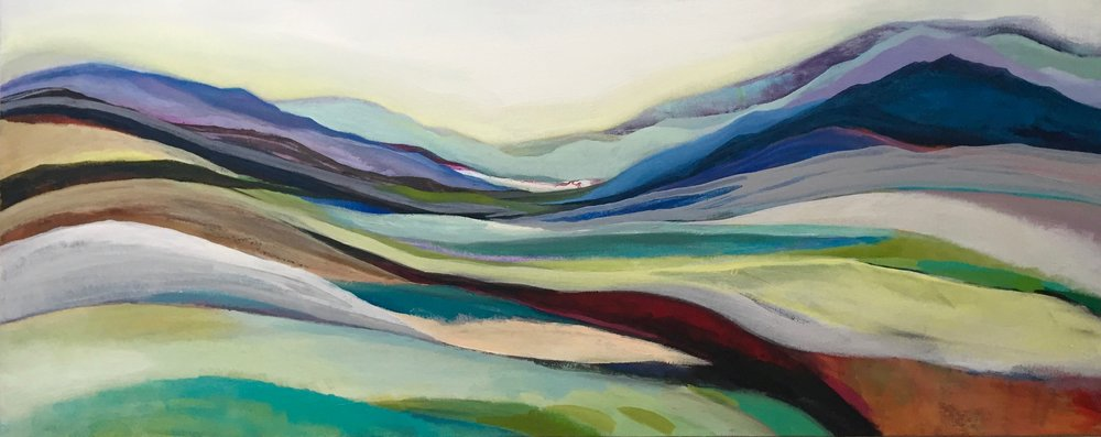 Abstract landscape, 40 x 1000cm, mixed media, SJH