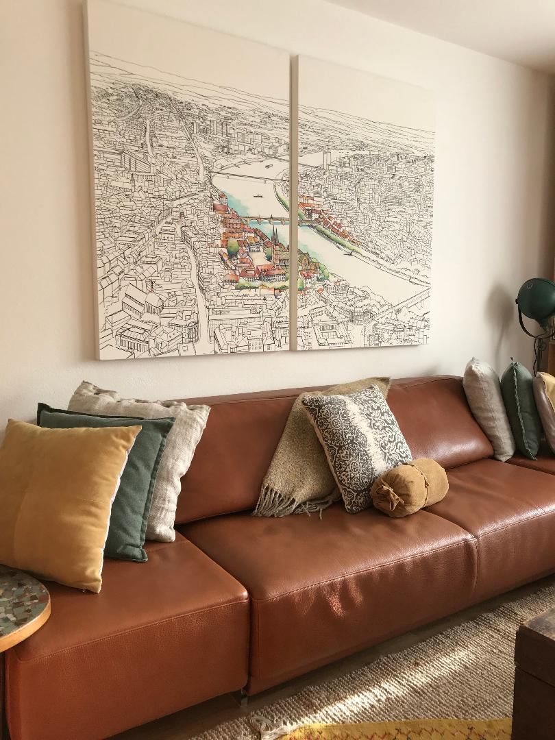 'Aerial view of Basel' looks wonderful in Client's home in Switzerland. Thank you for making it such a wonderful experience!
