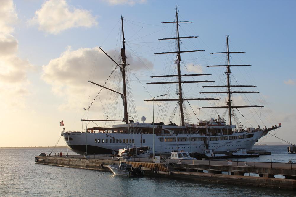 Beautiful ship at the towns dock