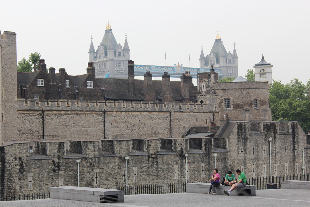 Tower of London with the Tower Bridge in the background