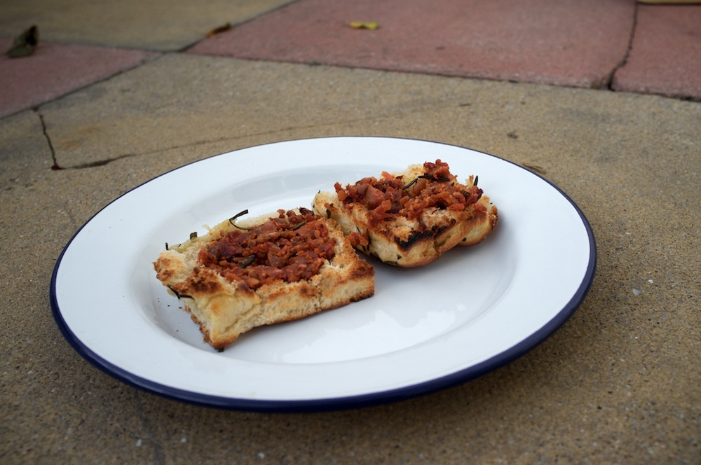 Homemade Bacon Jam on toasted Rosemary Focaccia.