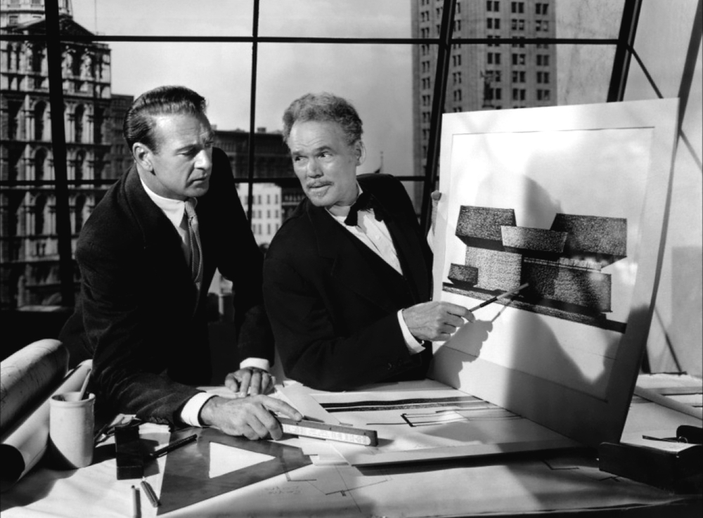 Howard Roark (left) discusses his ambitions for a Modernist house.