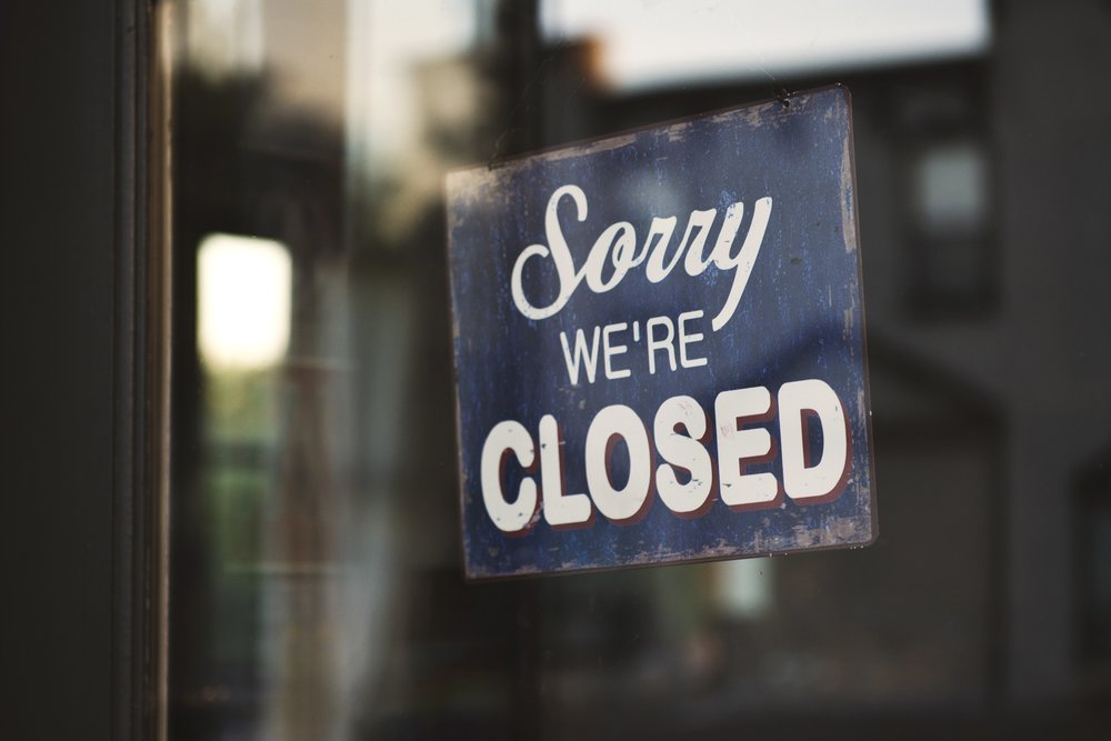 Photo by Tim Mossholder from Pexels (https://www.pexels.com/photo/blue-and-white-sorry-we-re-closed-wooden-signage-1171386)