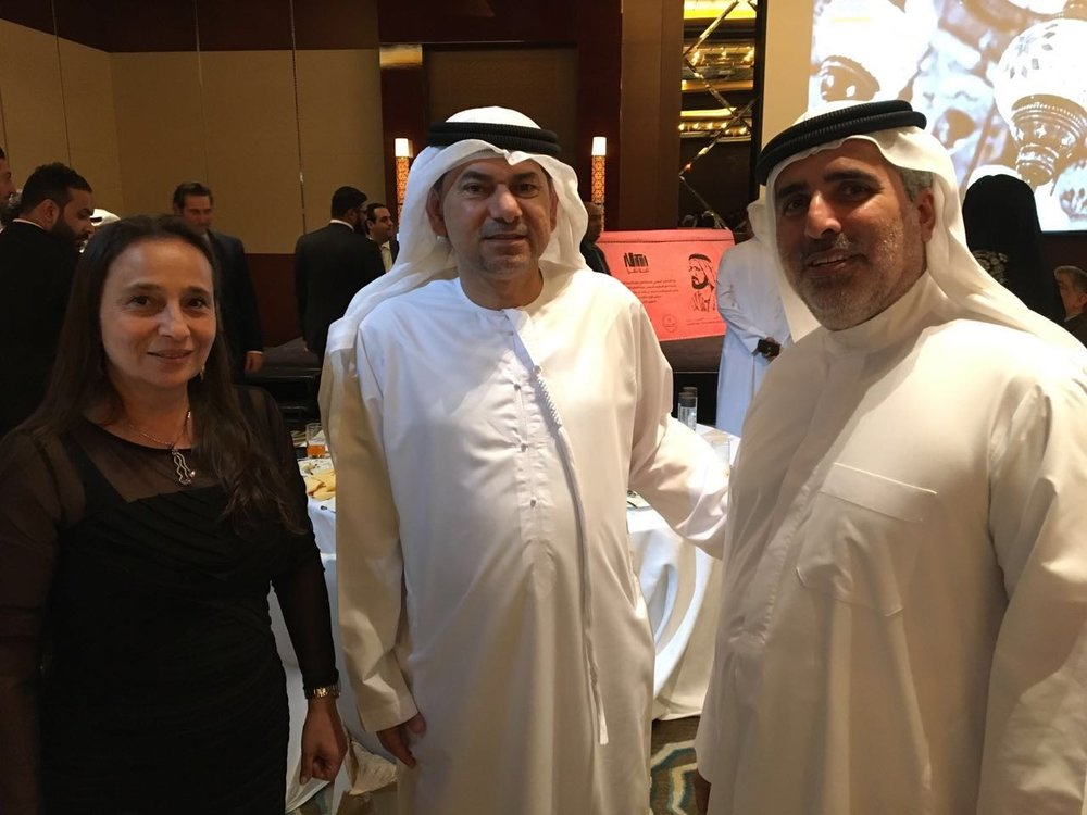 Khalid Alghaith and Maya Alghaith, Co-founders of     Health Gate with the CEO of Dubai Exports, Saed Al Awadi (in the middle)