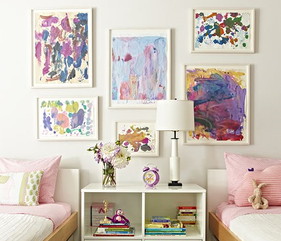 Displaying the girls colorful art really personalizes their space and gets them involved