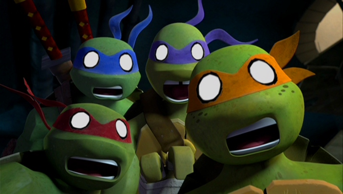 Each Turtle has their distinctive personality in check, brought to life by the talents of (from L-R) Sean Astin, Jason Biggs, Rob Paulsen and Greg Cipes.