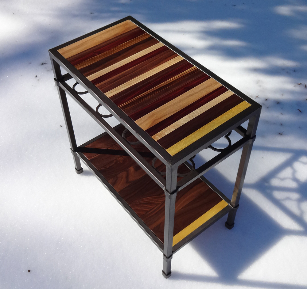Metal table with walnut, ash, morado, zebrawood and yellowheart. (SOLD!)