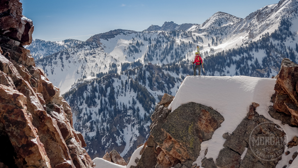 Caroline Gleich takes in the view after we got the top of Suicide Chute on the last day of March.