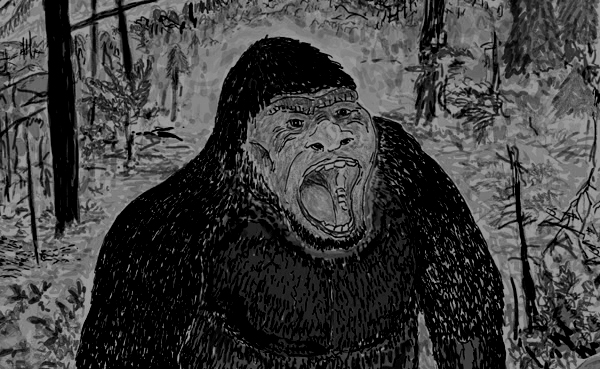 If Bigfoot is real, just remember that it's probably the most terrifying animal in existence. Seriously. I tried to modify my drawing ( available on merchandise! ) so that the animal appears to be in the dark. I failed. Image: Darren Naish.