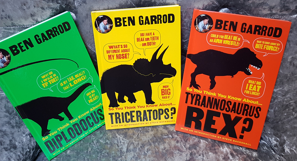 Ben Garrod's new dinosaur books - another three are due to appear very soon. Image: Darren Naish.