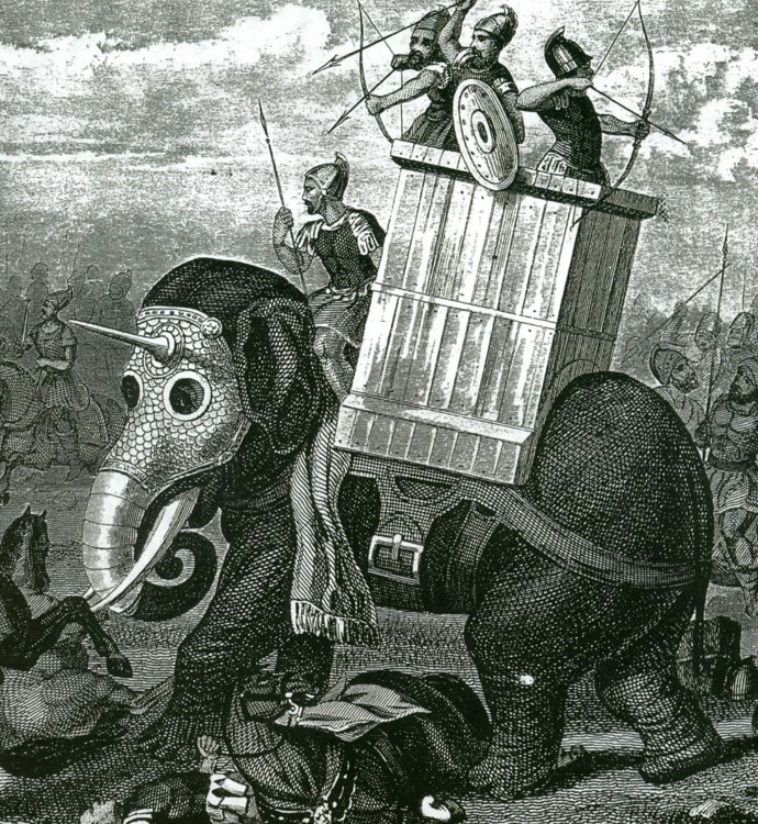 Armoured war elephants have been used by several cultures. This image originally appeared in Friedrich Arnold Brokhaus's atlas, published sometime before 1850. Image: Karl Gröning;  Elephants: A Cultural and Natural History .