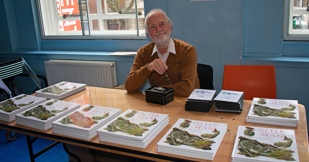 Dougal Dixon with copies of the  2018 Breakdown Press edition of  After Man  … and note the exclusive DVDs as well. Image: Georgia Witton-Maclean.