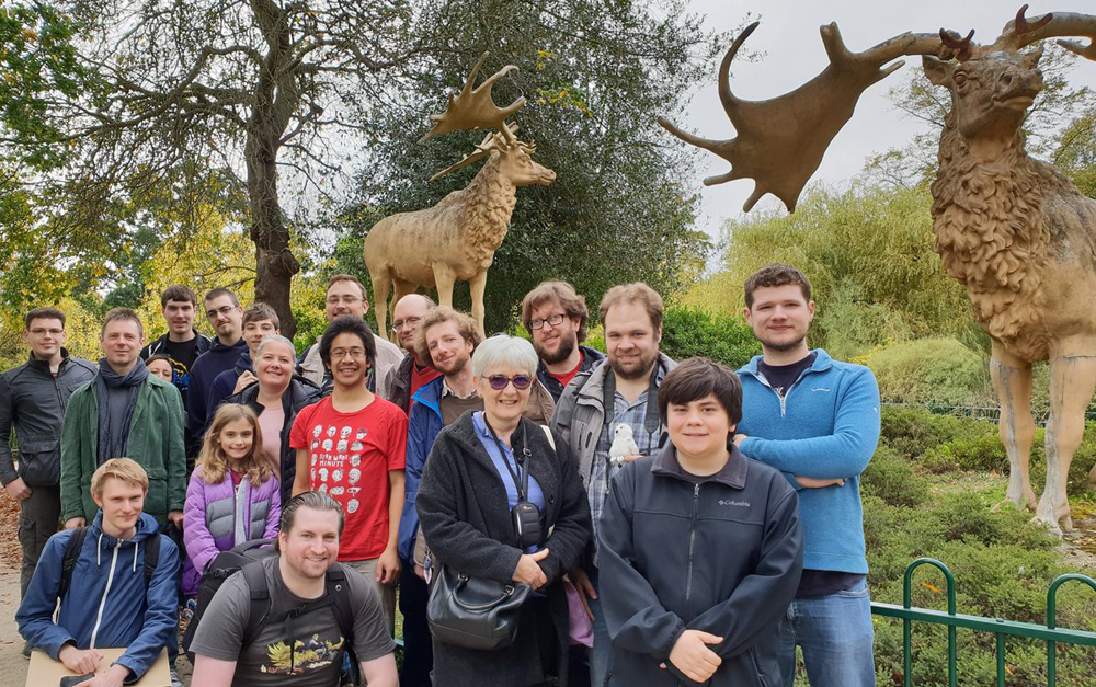 The post-TetZooCon fieldtrip to Crystal Palace. It isn't coincidental that we stopped to take the group photo at the  Megaloceros  models. Image: Will Naish.