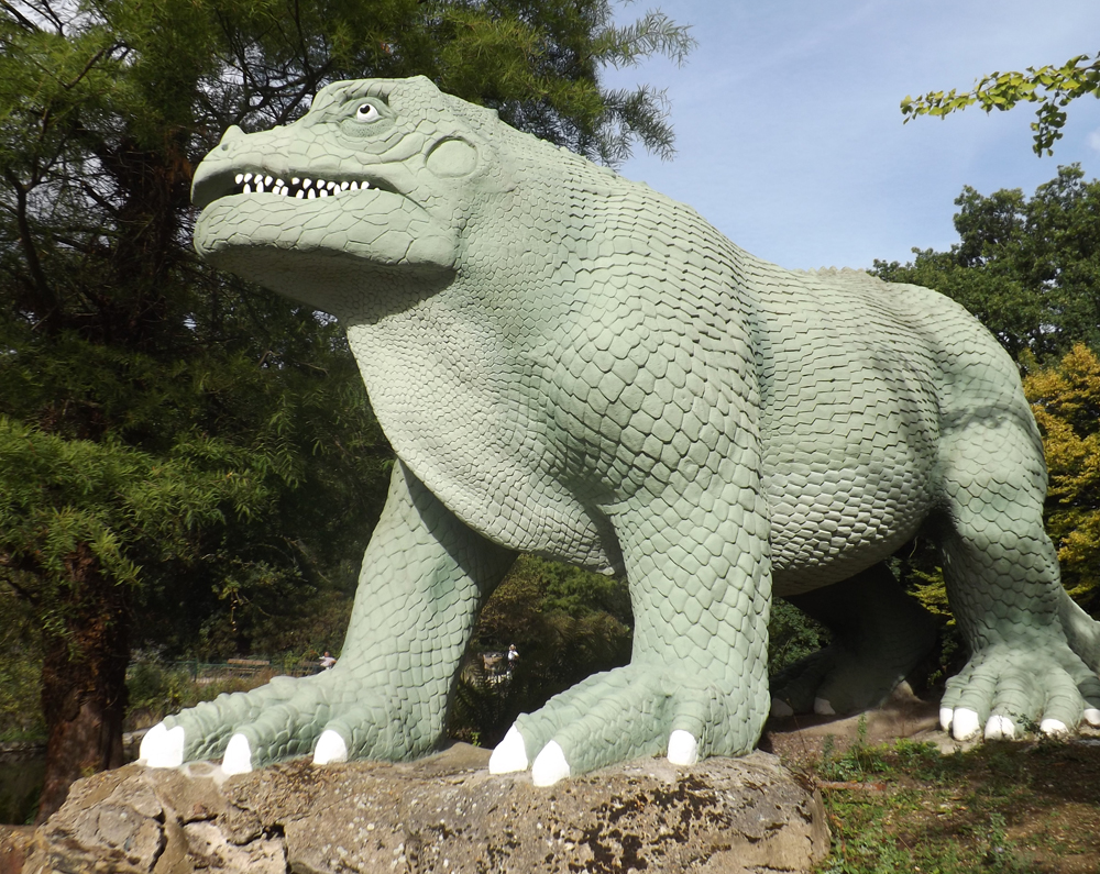 The standing  Iguanodon  was given renovation and a new paint scheme within recent years. Unfortunately, further repair work is already required. Image: Darren Naish.