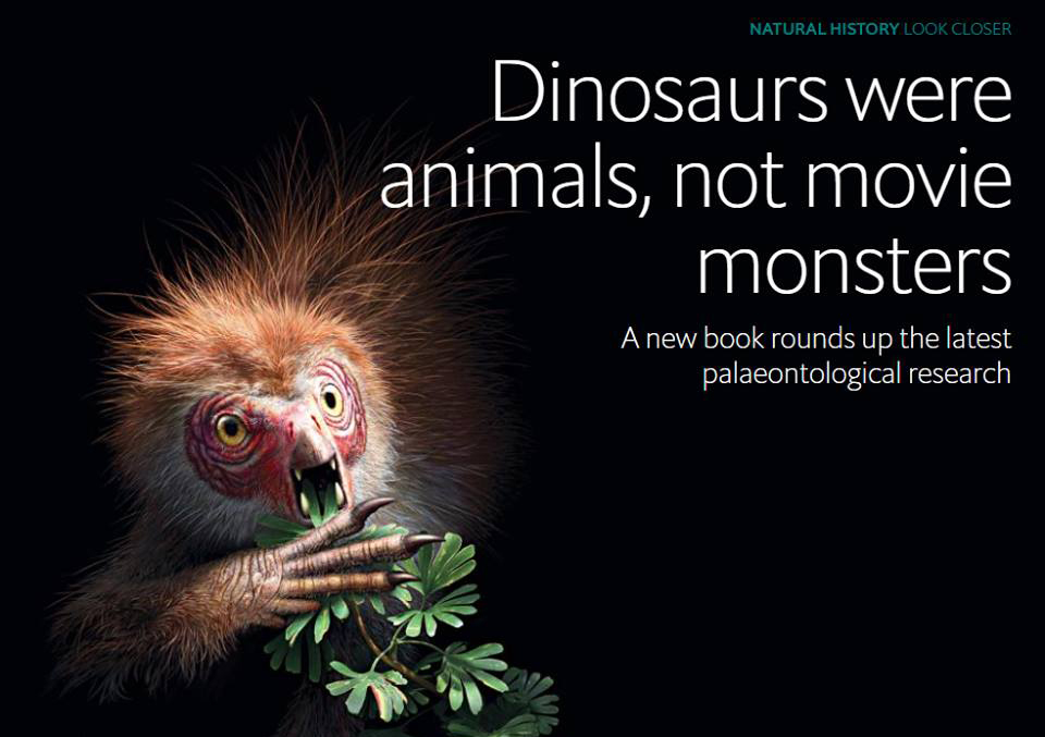 Screengrab from the  Economist 's review of the second edition of   Dinosaurs: How They Lived and Evolved  . The lead quote comes from Bob Nicholls, creator of the fuzzy  Tianyulong  we see at left. Image: (c) Economist.