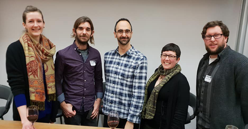 Crew at the public engagement event of December's Popularising Palaeontology event. L to r: Elsa Panciroli, Mark Witton, Chris Manias, Becky Wragg Sykes, Darren Naish. Image: Darren Naish.
