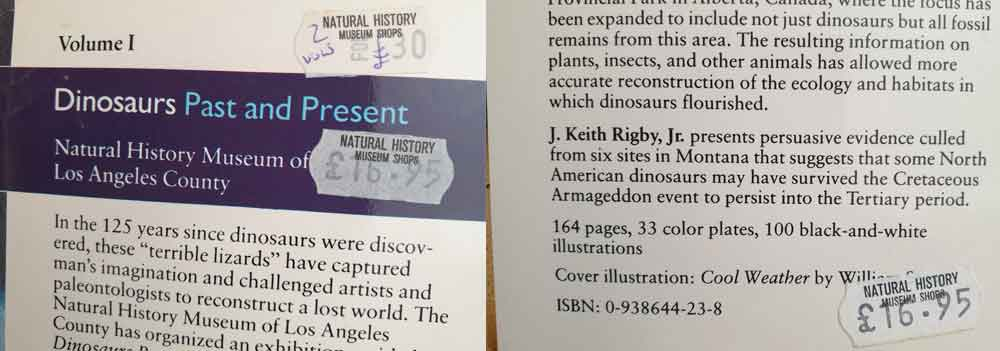 My copies of the  Dinosaurs Past and Present  books still contain their original price labels. Oh, not as expensive as I remembered, then. Whatever. Image: Darren Naish.