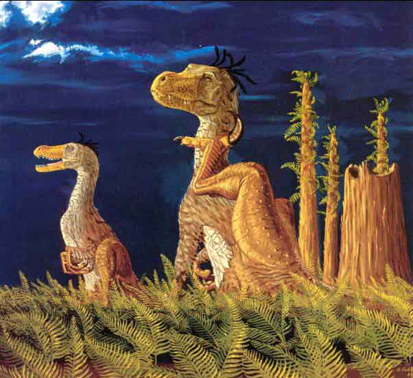 Greg Paul's art is among the most influential dinosaur-themed palaeoart ever produced. Today we know that his feathered non-bird theropods aren't feathery enough but, hey, you have to start somewhere. This painting was featured in the exhibition. Image (c) Greg Paul.