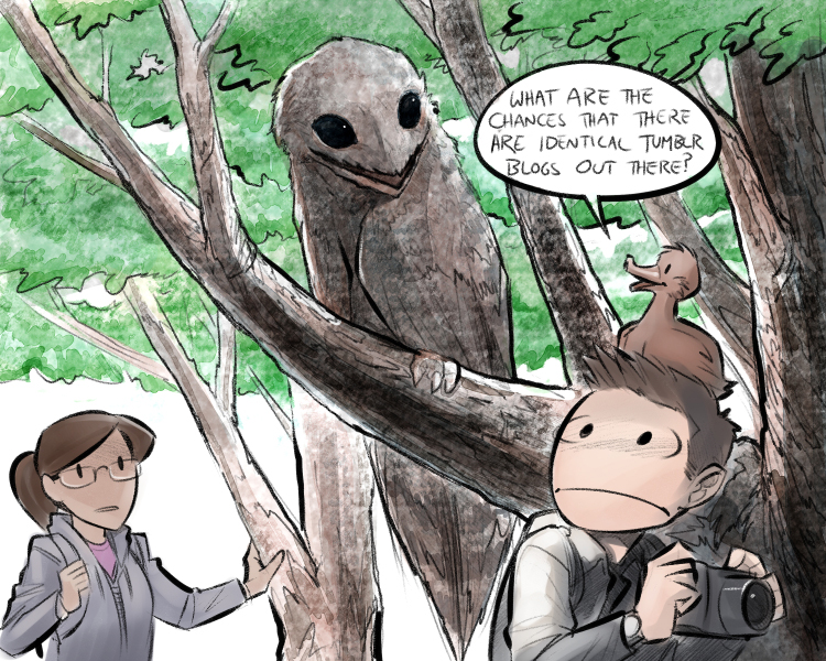 'The Great Potoo', interpreted somewhat literally, from the online comic Question Duck (  original panel here  ). Image: (c)  Question Duck .
