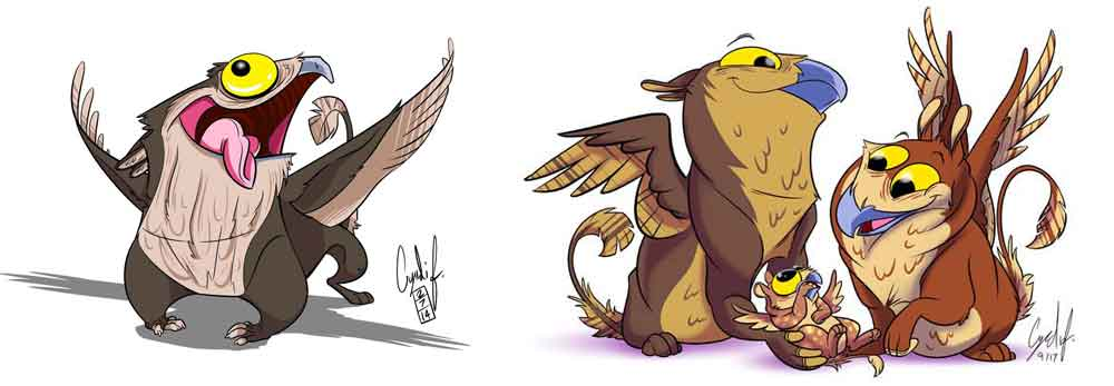 Cartoon potoo griffins, by Cyndi Foster, aka Gingo, aka Gryphon Queen (  here at DeviantArt  ). This is why the internet was made. Images: (c)  Cyndi Foster/Gingo .