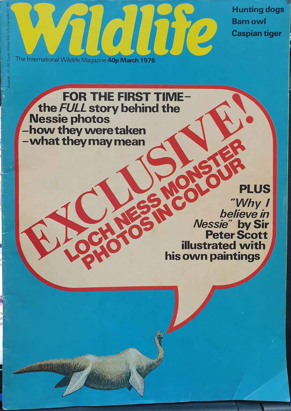 By the mid 1970s, Peter Scott was happy to publicly state a belief in the Loch Ness Monster, and there are even photographs of him wearing an 'I Believe in Nessie' t-shirt. Here's the cover of a magazine issue that features a key Scott article on the subject. Image: Darren Naish.