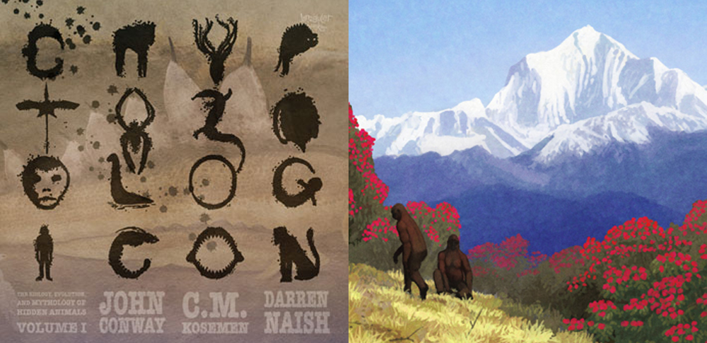 The Cryptozoologicon Volume I  sometimes mocks the aggressive tone used by some cryptozoologists. At right, part of John Conway's scene of a Himalayan yeti group. Image: John Conway/  Conway  et al . (2013)  .