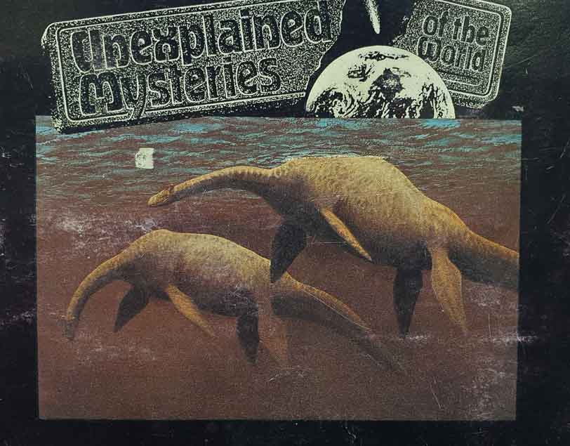 The most impressive and interesting of the several Nessie paintings produced by Peter Scott - here, depicted on the back of my battered copy of the PG Tips 1987  Unexplained Mysteries of the World , written by Robert J. M. Rickard. Image: Darren Naish.