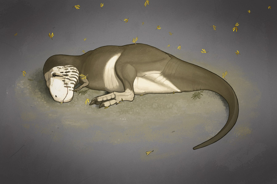 John Conway's sleeping  Tyrannosaurus , from    All Yesterdays   . We don't know how non-bird dinosaurs slept (though several fossils give us a good idea for some groups at least). We can, nevertheless, make lots of inferences based on the behaviour of living animals. Image: John Conway/   All Yesterdays   .