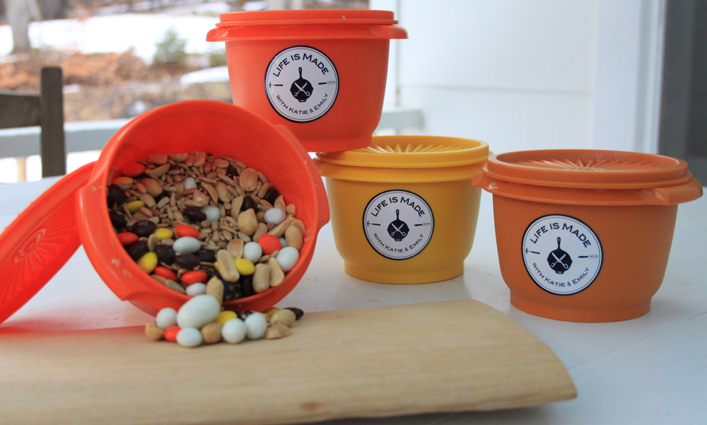 Trail mix in vintage tupperware makes a fun party favor.