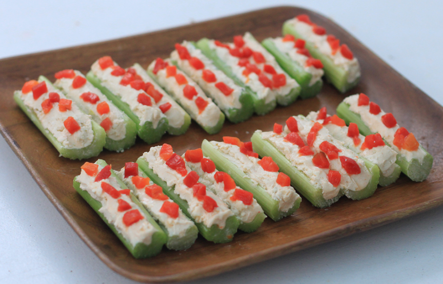 Katie's Spicy Bluecheese Celery Boat appetizers.