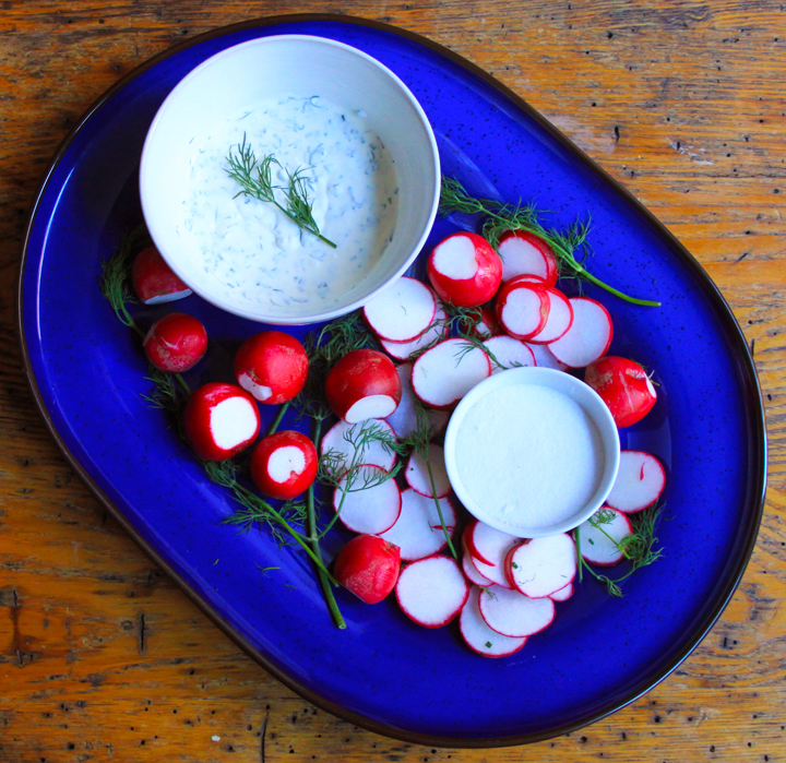 Radishes with Creme Fraiche Dip