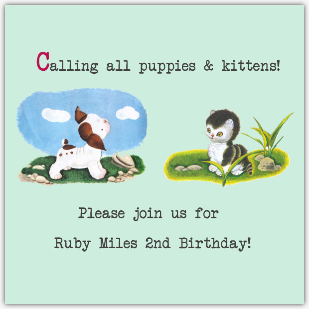 Vintage Kitty and Puppy Party Invitation