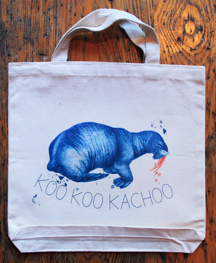 Koo Koo Kachoo Canvas Tote Bag with Walrus