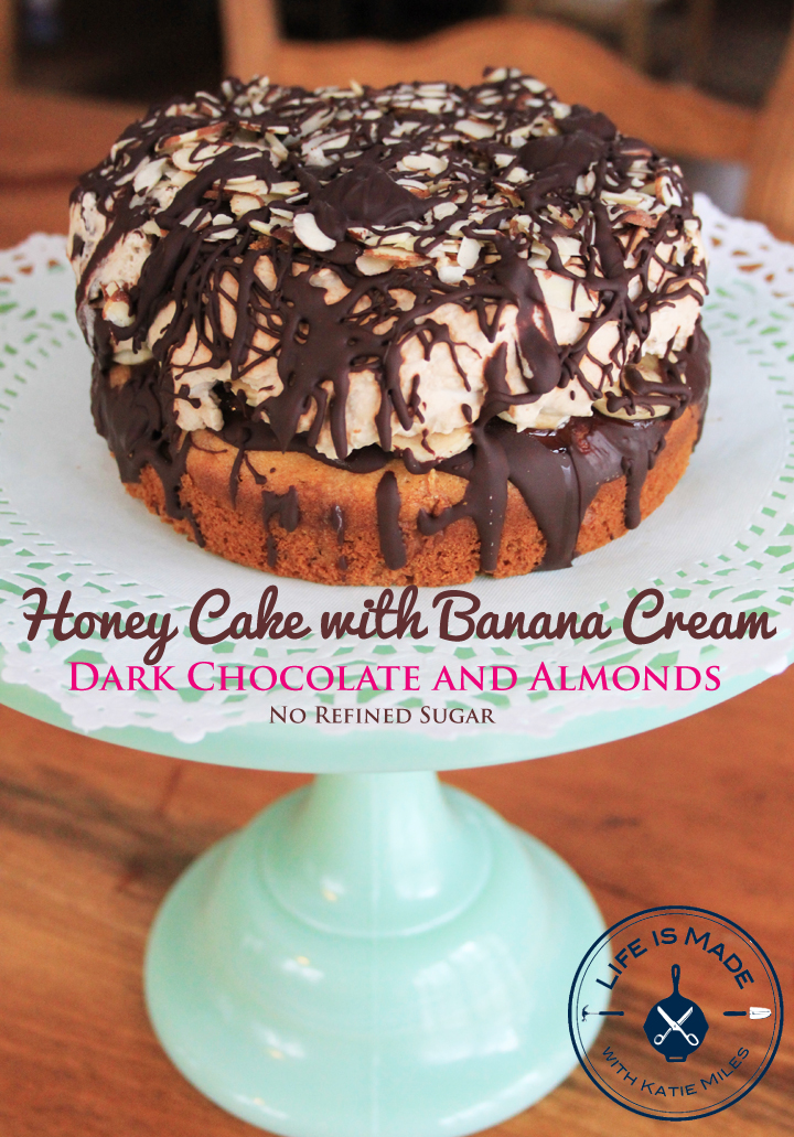 Honey Cake with Banana Cream, Dark Chocolate and Almonds / Refined Sugar Free