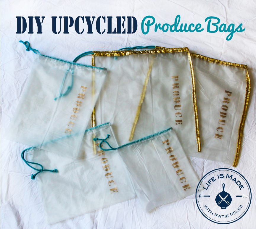 DIY Upcycled Produce Bags from a Shower Curtain, Life is Made with Katie Miles, www.lifeismadeblog.com