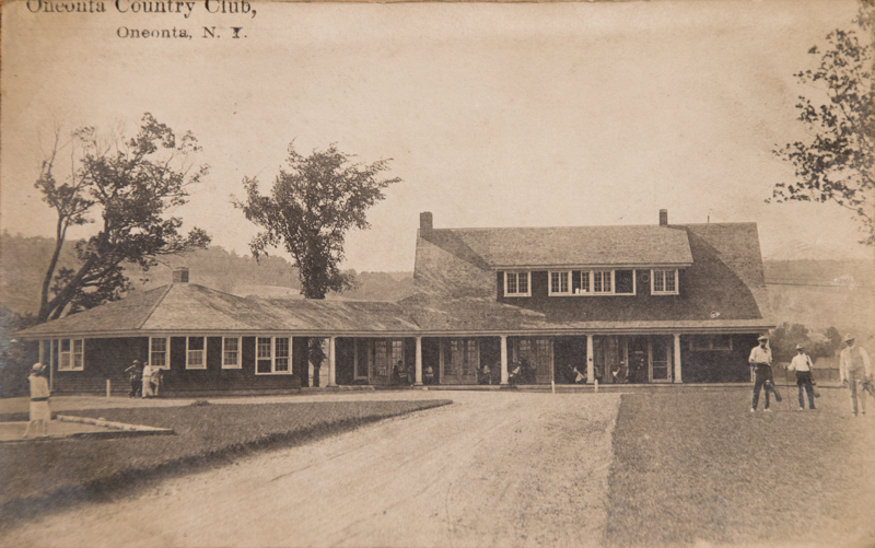 Historic post card of the Oneonta Country Club golf course club house. Circa 1915.