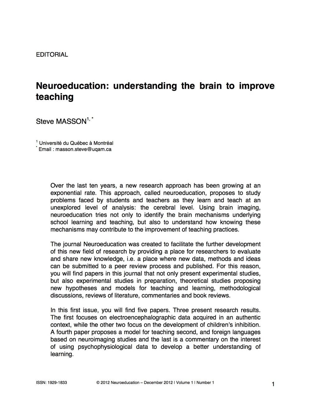 Neuroeducation: Understanding the brain to improve teaching