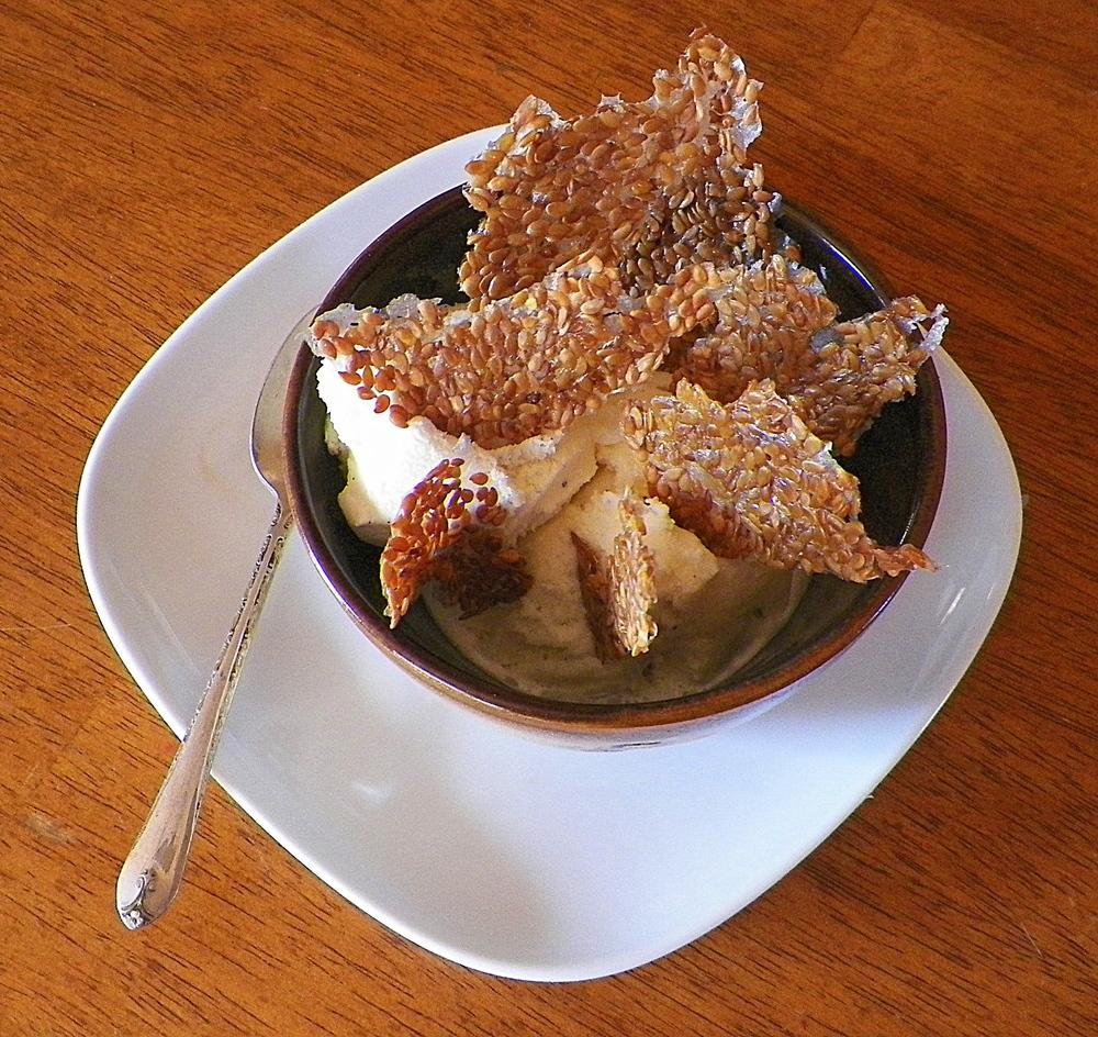 Flax Seed Crisps in ice cream.